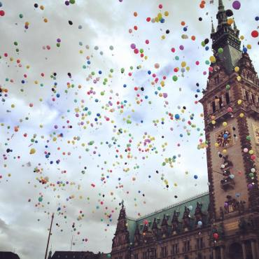 Rainbow balloons at the Rathaus